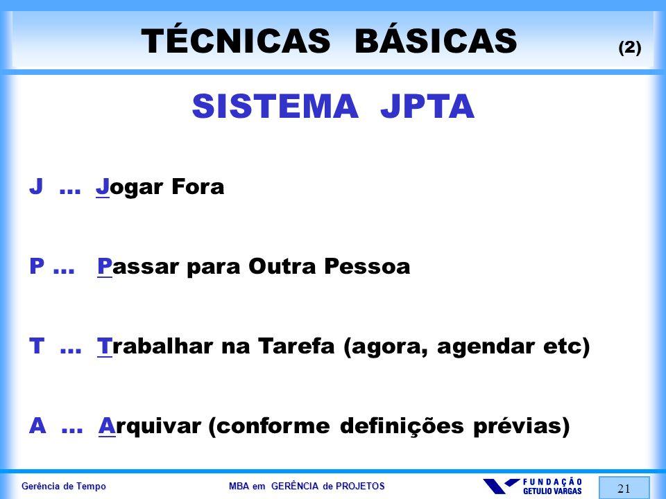 Gerência de Tempo MBA em GERÊNCIA de PROJETOS 21 TÉCNICAS BÁSICAS (2) SISTEMA JPTA J... Jogar Fora P... Passar para Outra Pessoa T... Trabalhar na Tar