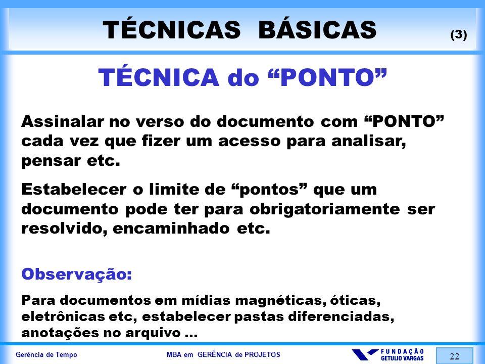Gerência de Tempo MBA em GERÊNCIA de PROJETOS 22 TÉCNICAS BÁSICAS (3) TÉCNICA do PONTO Assinalar no verso do documento com PONTO cada vez que fizer um
