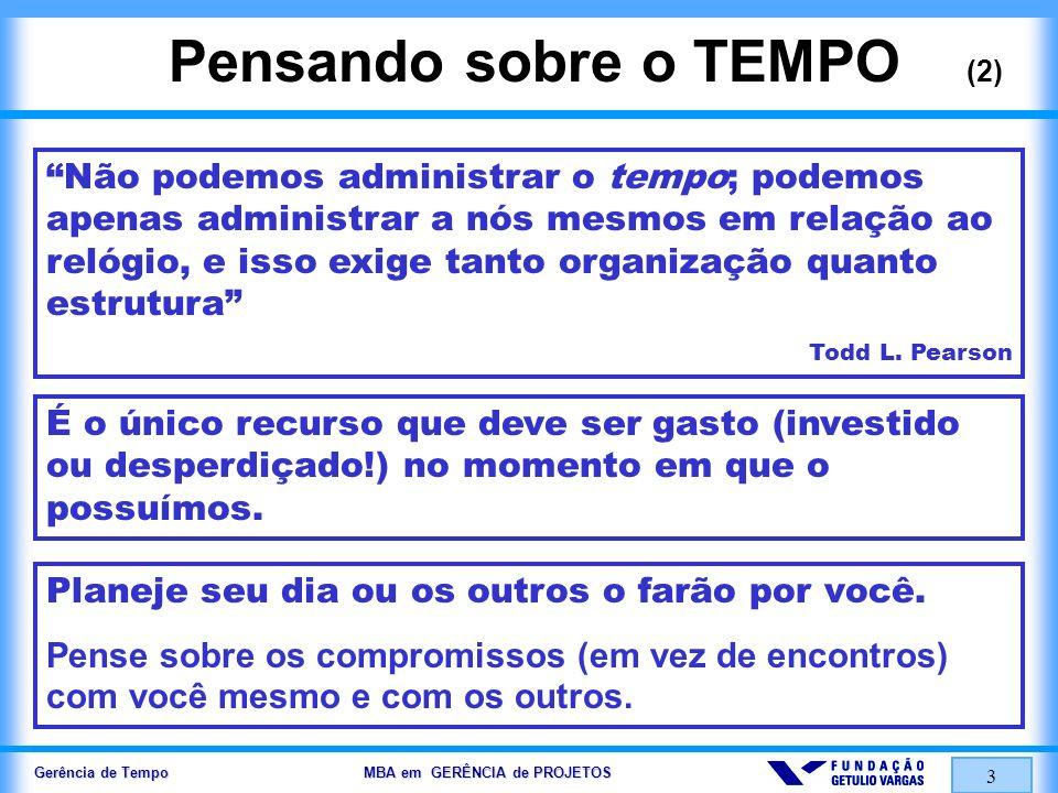 Gerência de Tempo MBA em GERÊNCIA de PROJETOS 3 Pensando sobre o TEMPO (2) Não podemos administrar o tempo; podemos apenas administrar a nós mesmos em