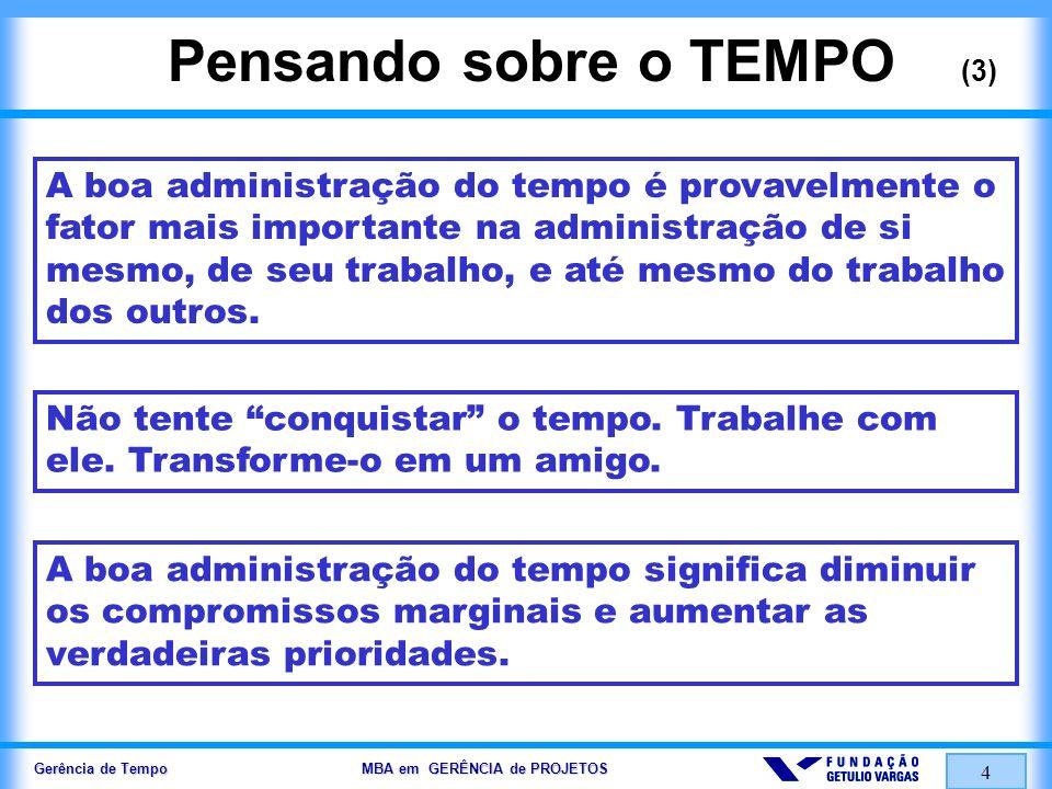 Gerência de Tempo MBA em GERÊNCIA de PROJETOS 4 Pensando sobre o TEMPO (3) A boa administração do tempo é provavelmente o fator mais importante na adm