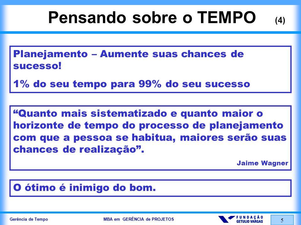Gerência de Tempo MBA em GERÊNCIA de PROJETOS 5 Pensando sobre o TEMPO (4) Planejamento – Aumente suas chances de sucesso! 1% do seu tempo para 99% do