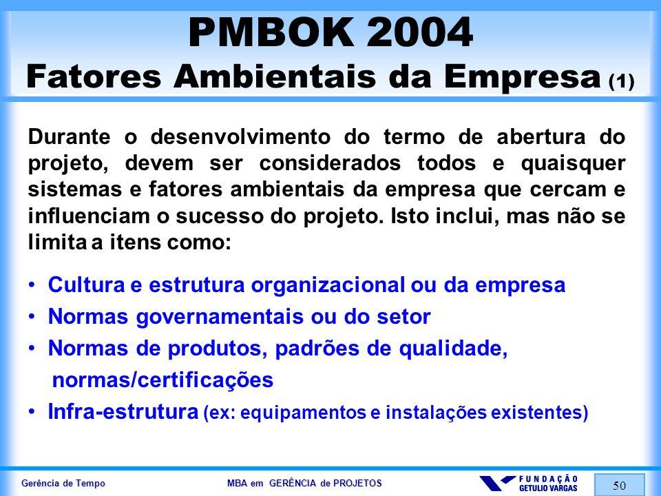 Gerência de Tempo MBA em GERÊNCIA de PROJETOS 50 PMBOK 2004 Fatores Ambientais da Empresa (1) Durante o desenvolvimento do termo de abertura do projet