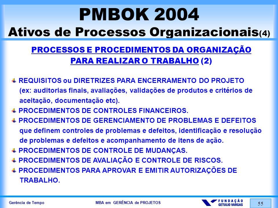 Gerência de Tempo MBA em GERÊNCIA de PROJETOS 55 PMBOK 2004 Ativos de Processos Organizacionais (4) PROCESSOS E PROCEDIMENTOS DA ORGANIZAÇÃO PARA REAL