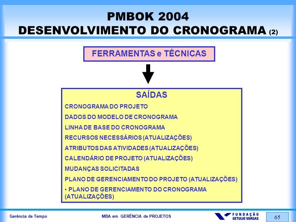 Gerência de Tempo MBA em GERÊNCIA de PROJETOS 65 PMBOK 2004 DESENVOLVIMENTO DO CRONOGRAMA (2) FERRAMENTAS e TÉCNICAS SAÍDAS CRONOGRAMA DO PROJETO DADO