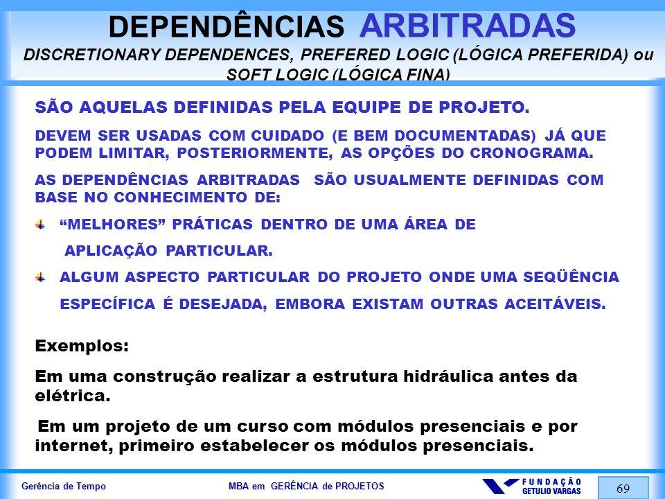 Gerência de Tempo MBA em GERÊNCIA de PROJETOS 69 DEPENDÊNCIAS ARBITRADAS DISCRETIONARY DEPENDENCES, PREFERED LOGIC (LÓGICA PREFERIDA) ou SOFT LOGIC (L
