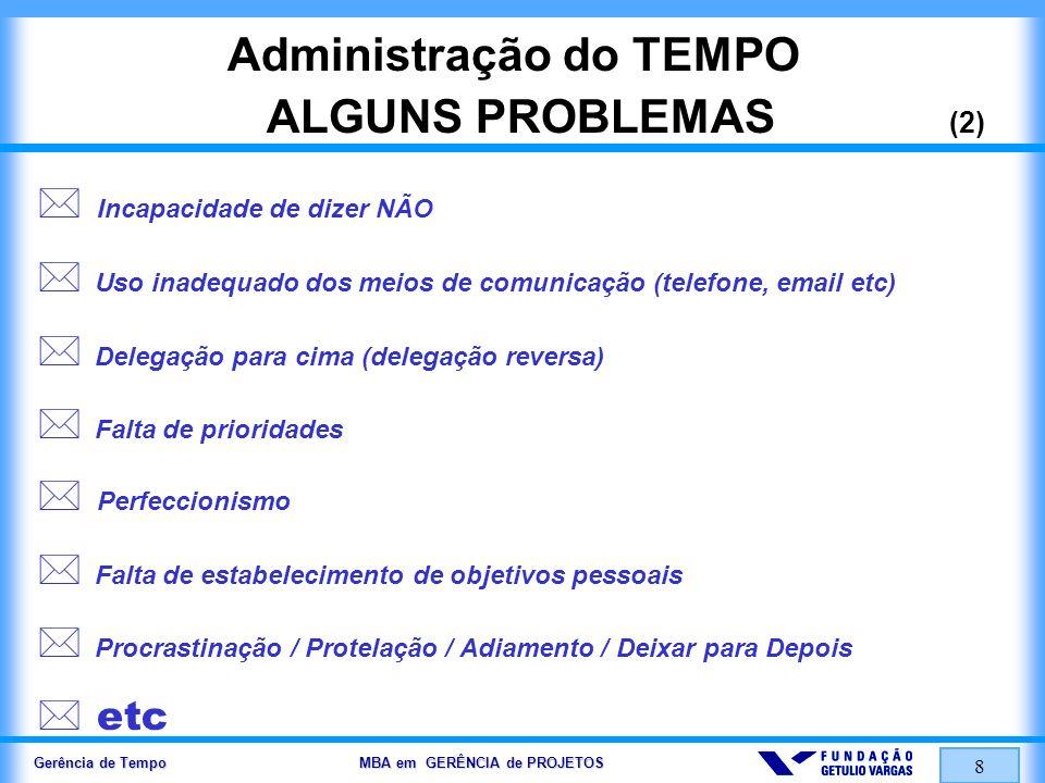 Gerência de Tempo MBA em GERÊNCIA de PROJETOS 8 Administração do TEMPO ALGUNS PROBLEMAS (2) Incapacidade de dizer NÃO Uso inadequado dos meios de comu