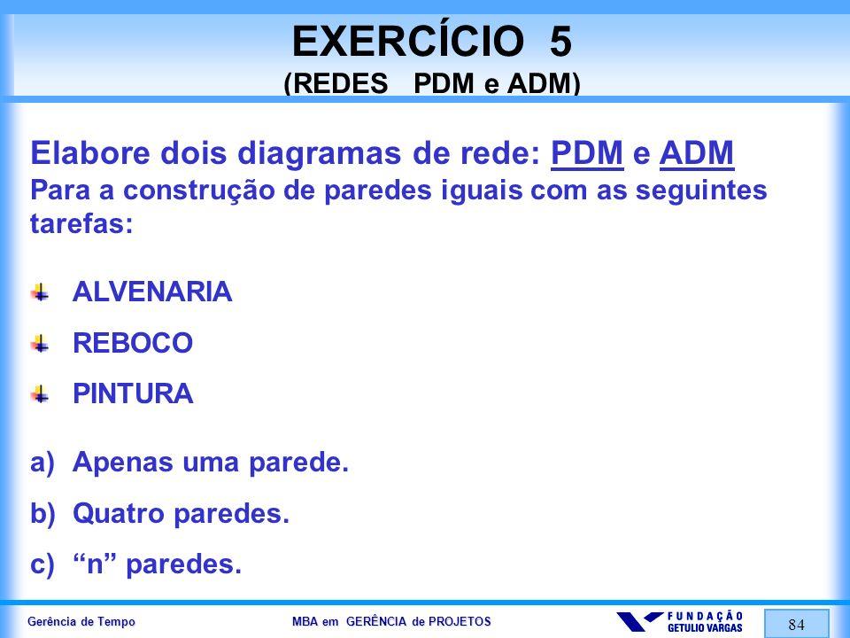 Gerência de Tempo MBA em GERÊNCIA de PROJETOS 84 EXERCÍCIO 5 (REDES PDM e ADM) Elabore dois diagramas de rede: PDM e ADM Para a construção de paredes