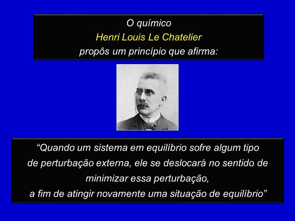 O químico Henri Louis Le Chatelier propôs um princípio que afirma: O químico Henri Louis Le Chatelier propôs um princípio que afirma: Quando um sistema em equilíbrio sofre algum tipo de perturbação externa, ele se deslocará no sentido de minimizar essa perturbação, a fim de atingir novamente uma situação de equilíbrio Quando um sistema em equilíbrio sofre algum tipo de perturbação externa, ele se deslocará no sentido de minimizar essa perturbação, a fim de atingir novamente uma situação de equilíbrio