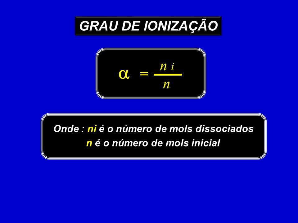 Onde : ni é o número de mols dissociados n é o número de mols inicial n i n = GRAU DE IONIZAÇÃO