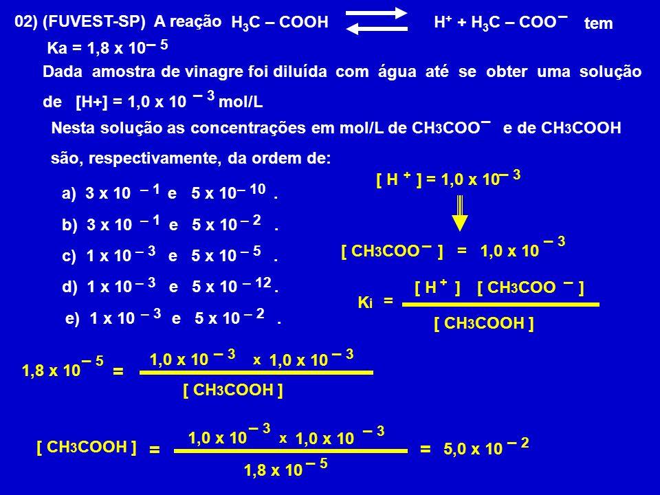 02) (FUVEST-SP) A reação H 3 C – COOH H + + H 3 C – COO tem Ka = 1,8 x 10 Dada amostra de vinagre foi diluída com água até se obter uma solução de [H+] = 1,0 x 10 mol/L – 5 – 3 Nesta solução as concentrações em mol/L de CH 3 COO e de CH 3 COOH são, respectivamente, da ordem de: – – a) 3 x 10 e 5 x 10.