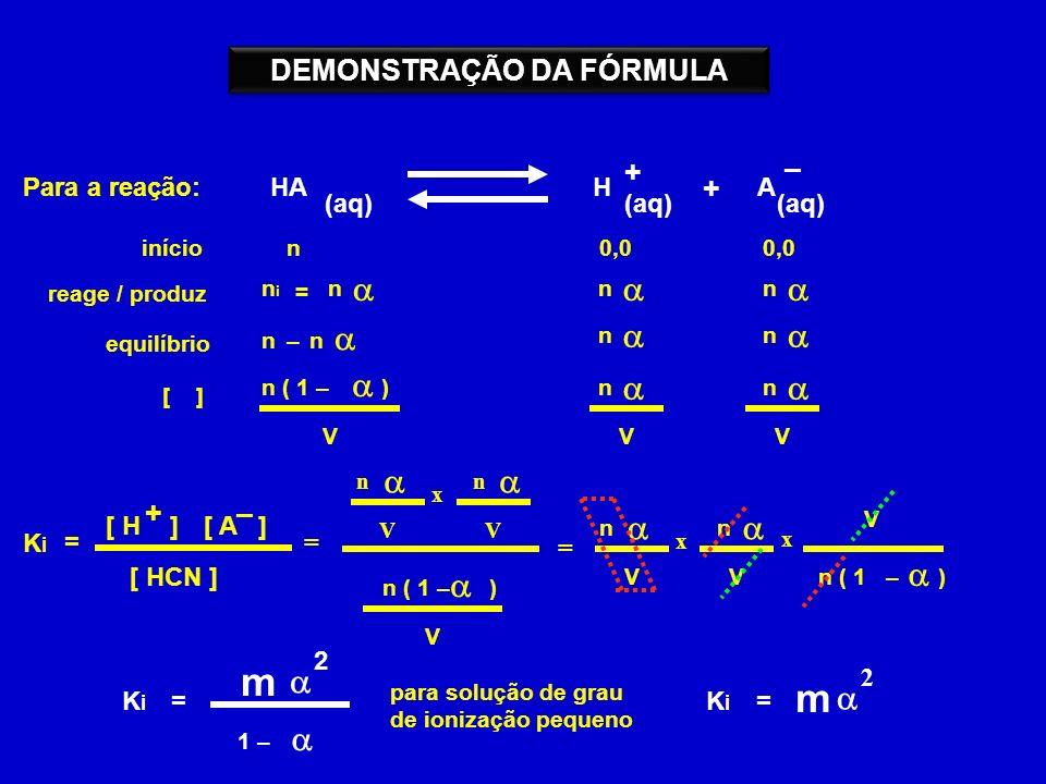 Para a reação: HA (aq) H + + A – = KiKi [ H ][ A ] [ HCN ] +– início reage / produz equilíbrio [ ] 0,0 nini n = n n n n– n n n V n n VV = n n VV x n ( 1 – ) V n ( 1 – ) = n n VV x V n ( 1 – ) x KiKi = m 2 1 – para solução de grau de ionização pequeno KiKi = m 2 DEMONSTRAÇÃO DA FÓRMULA