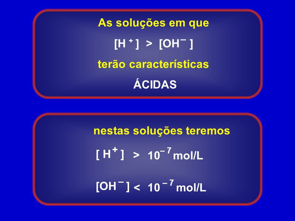 As soluções em que [H ] > [OH ] terão características ÁCIDAS + – 10 mol/L < [ H ] [OH ] + – > – 7 10 mol/L – 7 nestas soluções teremos