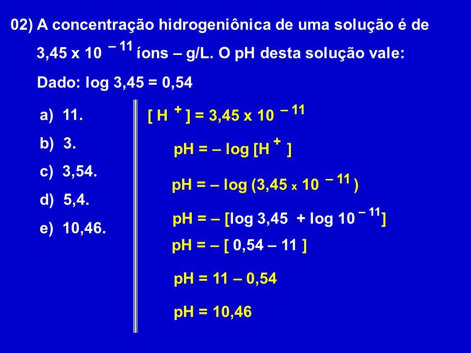 02) A concentração hidrogeniônica de uma solução é de 3,45 x 10 íons – g/L.