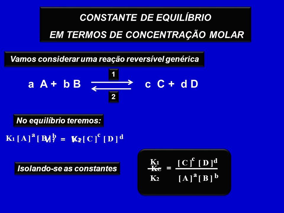 CONSTANTE DE EQUILÍBRIO EM TERMOS DE CONCENTRAÇÃO MOLAR CONSTANTE DE EQUILÍBRIO EM TERMOS DE CONCENTRAÇÃO MOLAR Vamos considerar uma reação reversível genérica a A + b Bc C + d D 2 2 1 1 No equilíbrio teremos: V 1 =V 2 a b K 1 [ A ] [ B ] c d K 2 [ C ] [ D ] Isolando-se as constantes = a b [ A ] [ B ] c d [ C ] [ D ] K1K1 K2K2 KCKC