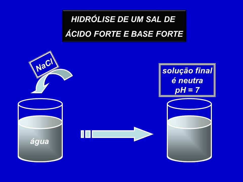 HIDRÓLISE DE UM SAL DE ÁCIDO FORTE E BASE FORTE HIDRÓLISE DE UM SAL DE ÁCIDO FORTE E BASE FORTE água NaCl solução final é neutra pH = 7