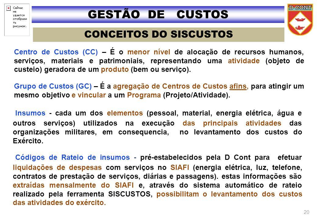Centro de Custos (CC) – É o menor nível de alocação de recursos humanos, serviços, materiais e patrimoniais, representando uma atividade (objeto de cu
