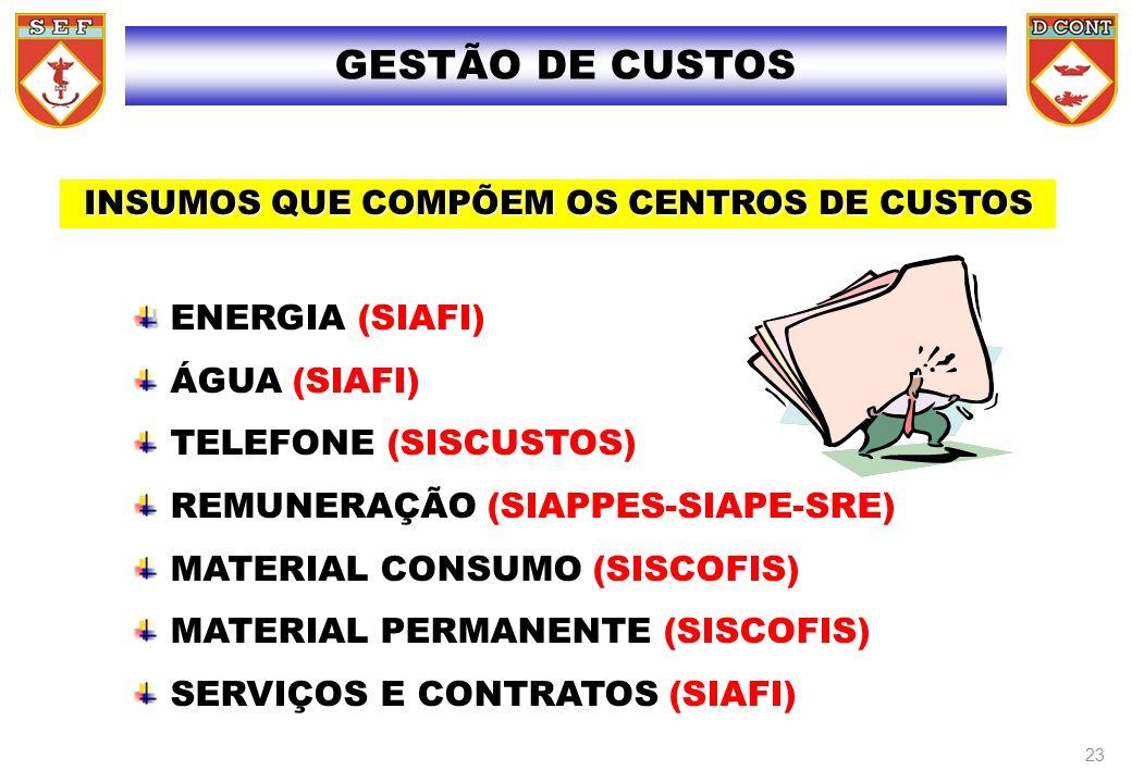 ENERGIA (SIAFI) ÁGUA (SIAFI) TELEFONE (SISCUSTOS) REMUNERAÇÃO (SIAPPES-SIAPE-SRE) MATERIAL CONSUMO (SISCOFIS) MATERIAL PERMANENTE (SISCOFIS) SERVIÇOS