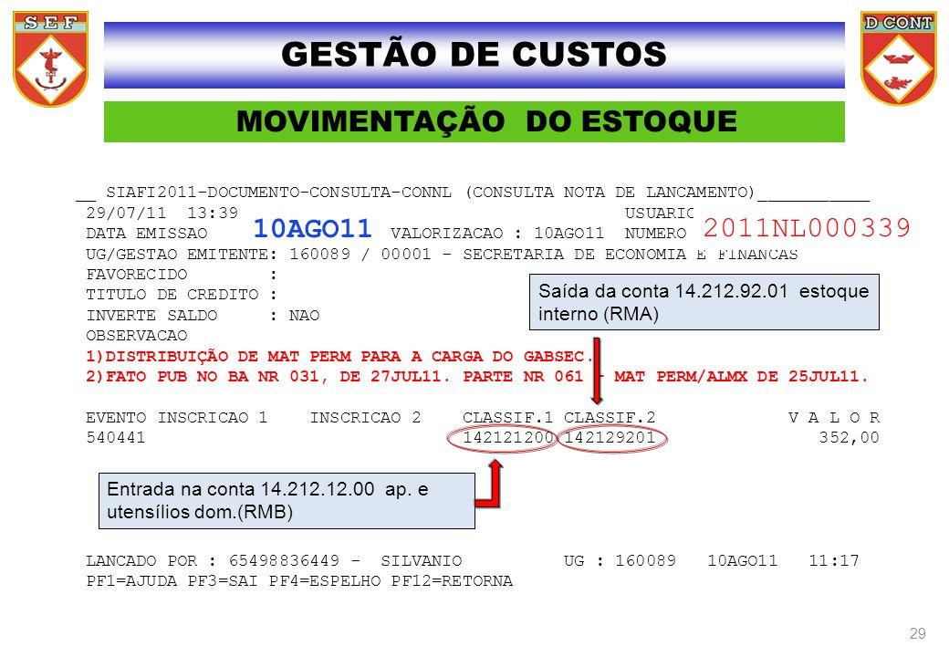 MOVIMENTAÇÃO DO ESTOQUE __ SIAFI2011-DOCUMENTO-CONSULTA-CONNL (CONSULTA NOTA DE LANCAMENTO)___________ 29/07/11 13:39 USUARIO : SATURNINO DATA EMISSAO