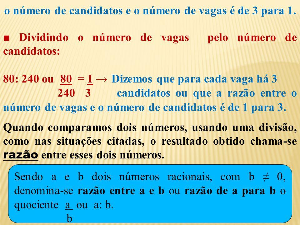 1º membro: 3x – 1 2º membro: 6 Dividindo o número de vagas pelo número de candidatos: 80: 240 ou 80 = 1 Dizemos que para cada vaga há 3 240 3 candidatos ou que a razão entre o número de vagas e o número de candidatos é de 1 para 3.
