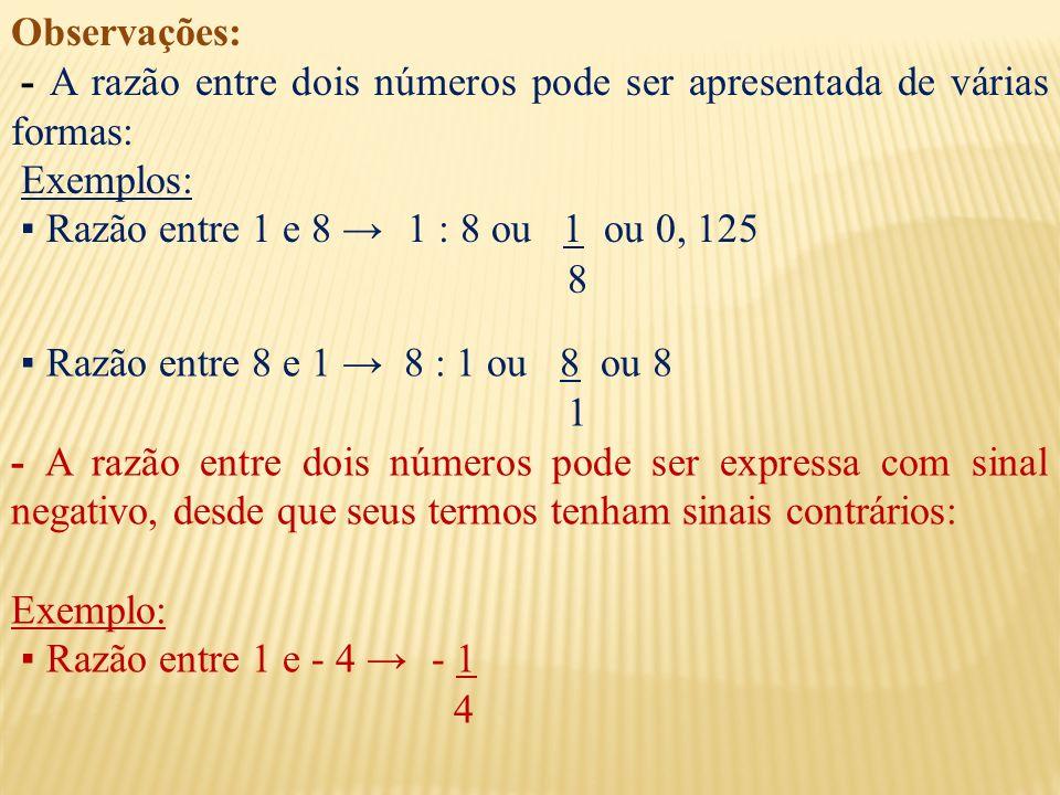 Observações: - A razão entre dois números pode ser apresentada de várias formas: Exemplos: Razão entre 1 e 8 1 : 8 ou 1 ou 0, 125 8 Razão entre 8 e 1 8 : 1 ou 8 ou 8 1 - A razão entre dois números pode ser expressa com sinal negativo, desde que seus termos tenham sinais contrários: Exemplo: Razão entre 1 e - 4 - 1 4
