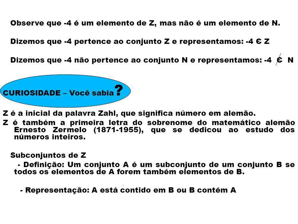 Observe que -4 é um elemento de Z, mas não é um elemento de N. Dizemos que -4 pertence ao conjunto Z e representamos: -4 Є Z Dizemos que -4 não perten