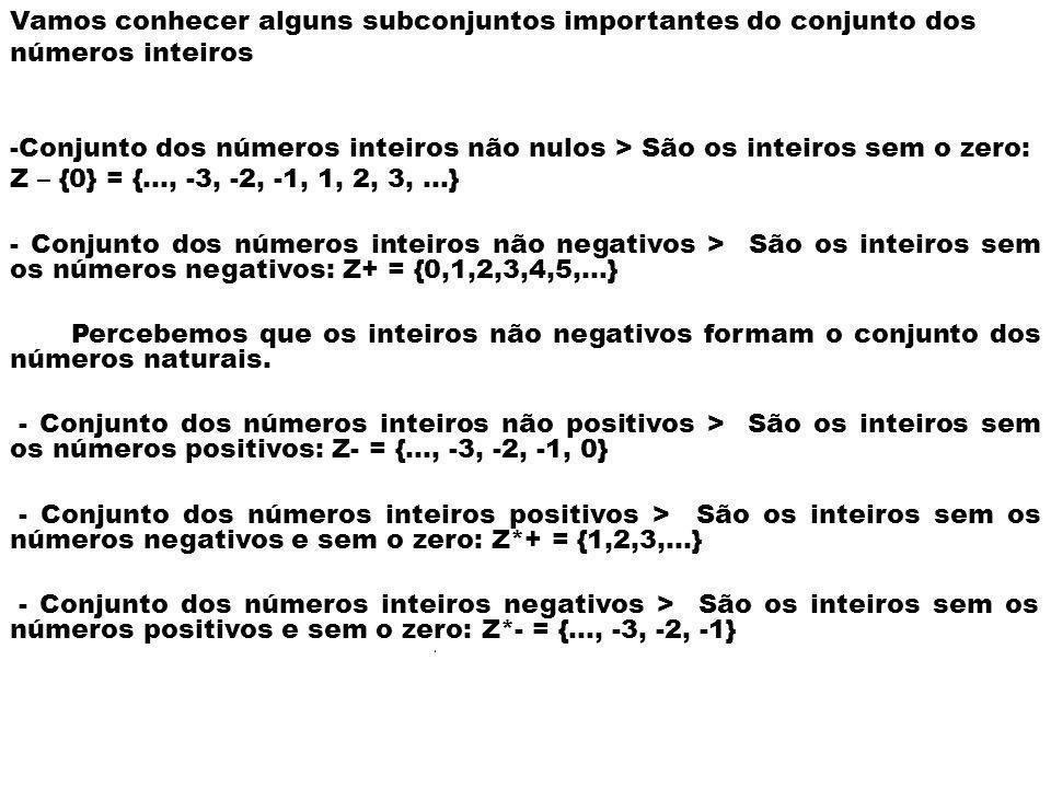 Vamos conhecer alguns subconjuntos importantes do conjunto dos números inteiros -Conjunto dos números inteiros não nulos > São os inteiros sem o zero: