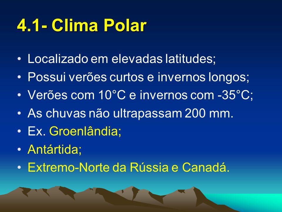 4.2- Clima de Montanha e Continental Clima de montanha é frio devido a altitude; O clima frio continental está localizado no norte do Canadá e da Rússia possuindo baixas pluviosidades.