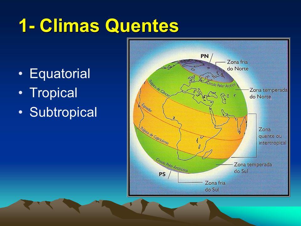 1.1- Clima Equatorial Quente e úmido; Médias térmicas entre 24° a 28°C; Baixa amplitude térmica; Elevado índice pluviométrico, acima de 2.000 mm; Ex: Amazônia, Floresta do Congo e S Ásia.