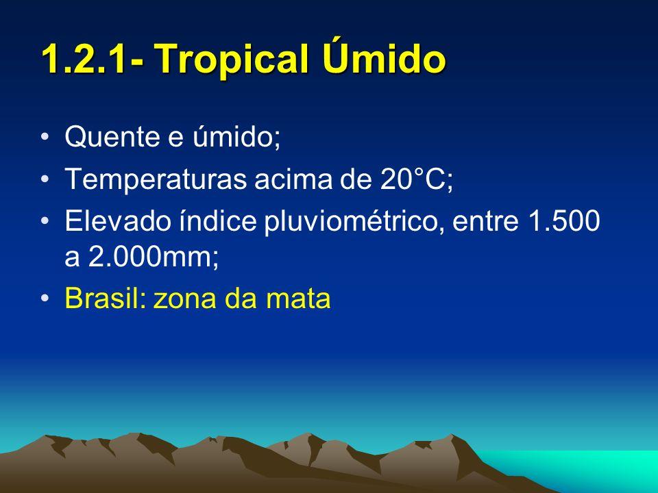 1.2.2- Tropical Semi-úmido Possui verão chuvoso e inverno seco; Média térmica e amplitude térmica moderada; Chuvas entre 1.000 a 1.500mm; Brasil: Centro-Oeste; África: Savanas; N da Austrália; N da Índia e L malaio.