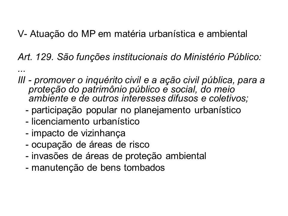 V- Atuação do MP em matéria urbanística e ambiental Art.
