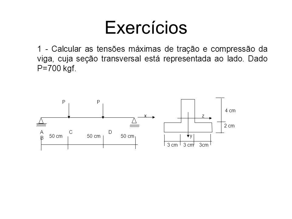Exercícios 3 cm 3 cm 3cm A C D B P 2 cm 4 cm x z y 1 - Calcular as tensões máximas de tração e compressão da viga, cuja seção transversal está represe