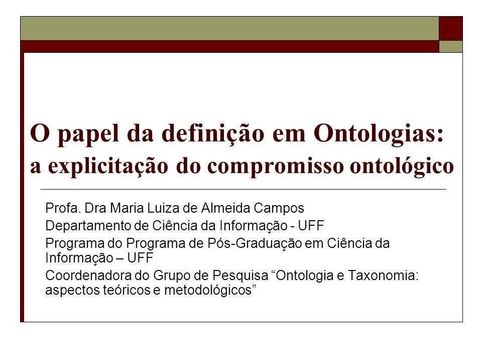 O papel da definição em Ontologias: a explicitação do compromisso ontológico Profa. Dra Maria Luiza de Almeida Campos Departamento de Ciência da Infor