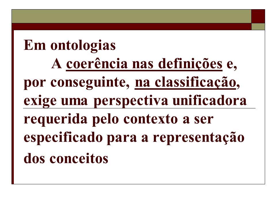 Em ontologias A coerência nas definições e, por conseguinte, na classificação, exige uma perspectiva unificadora requerida pelo contexto a ser especif
