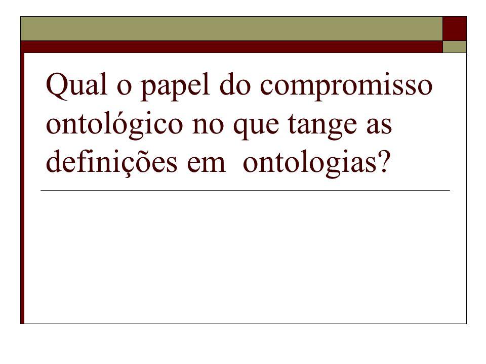 Qual o papel do compromisso ontológico no que tange as definições em ontologias?