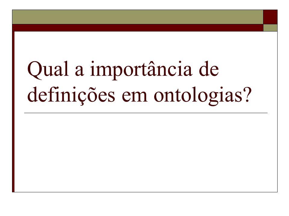 Qual a importância de definições em ontologias?