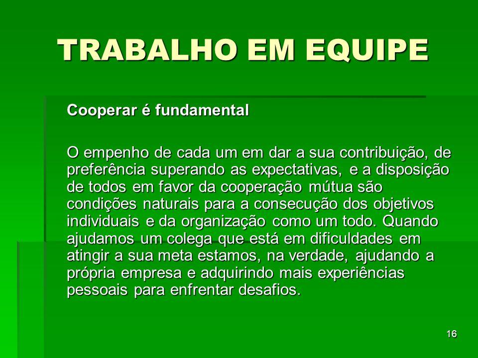 16 TRABALHO EM EQUIPE Cooperar é fundamental O empenho de cada um em dar a sua contribuição, de preferência superando as expectativas, e a disposição