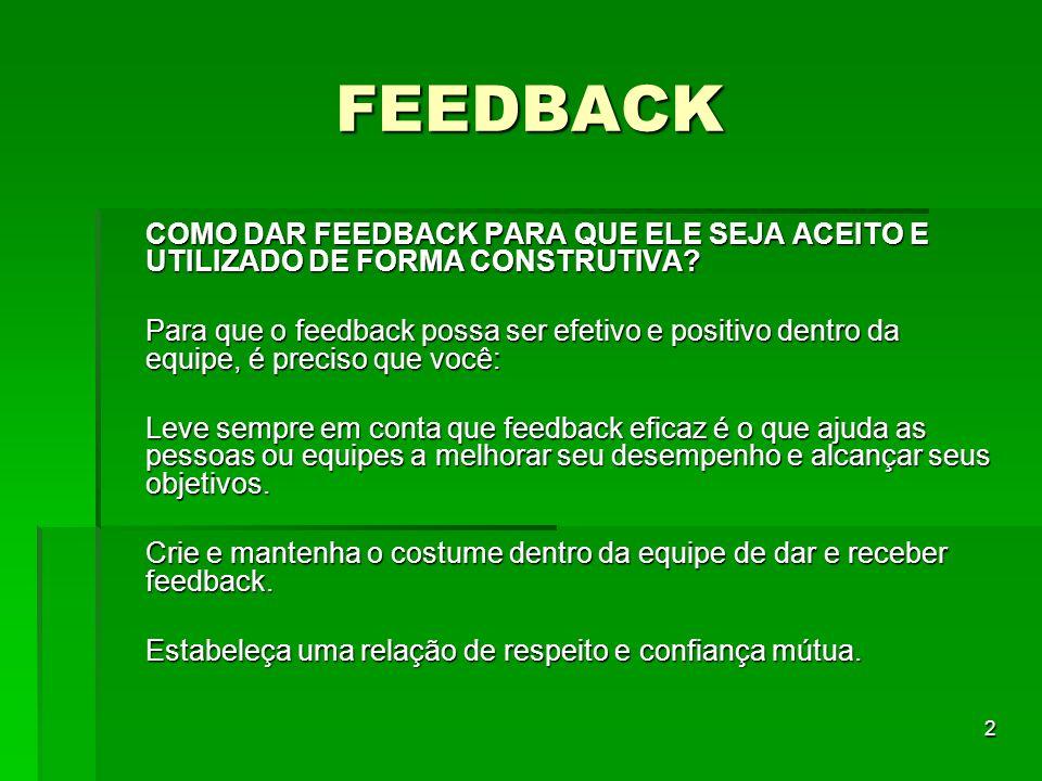 2 FEEDBACK COMO DAR FEEDBACK PARA QUE ELE SEJA ACEITO E UTILIZADO DE FORMA CONSTRUTIVA? Para que o feedback possa ser efetivo e positivo dentro da equ