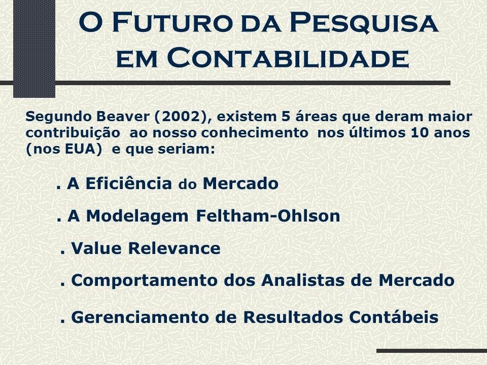 O Futuro da Pesquisa em Contabilidade Segundo Beaver (2002), existem 5 áreas que deram maior contribuição ao nosso conhecimento nos últimos 10 anos (nos EUA) e que seriam:.