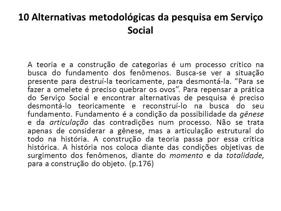 10 Alternativas metodológicas da pesquisa em Serviço Social A teoria e a construção de categorias é um processo crítico na busca do fundamento dos fen