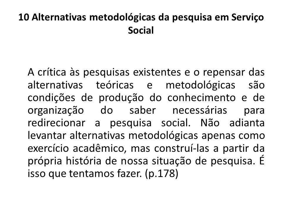 10 Alternativas metodológicas da pesquisa em Serviço Social A crítica às pesquisas existentes e o repensar das alternativas teóricas e metodológicas s