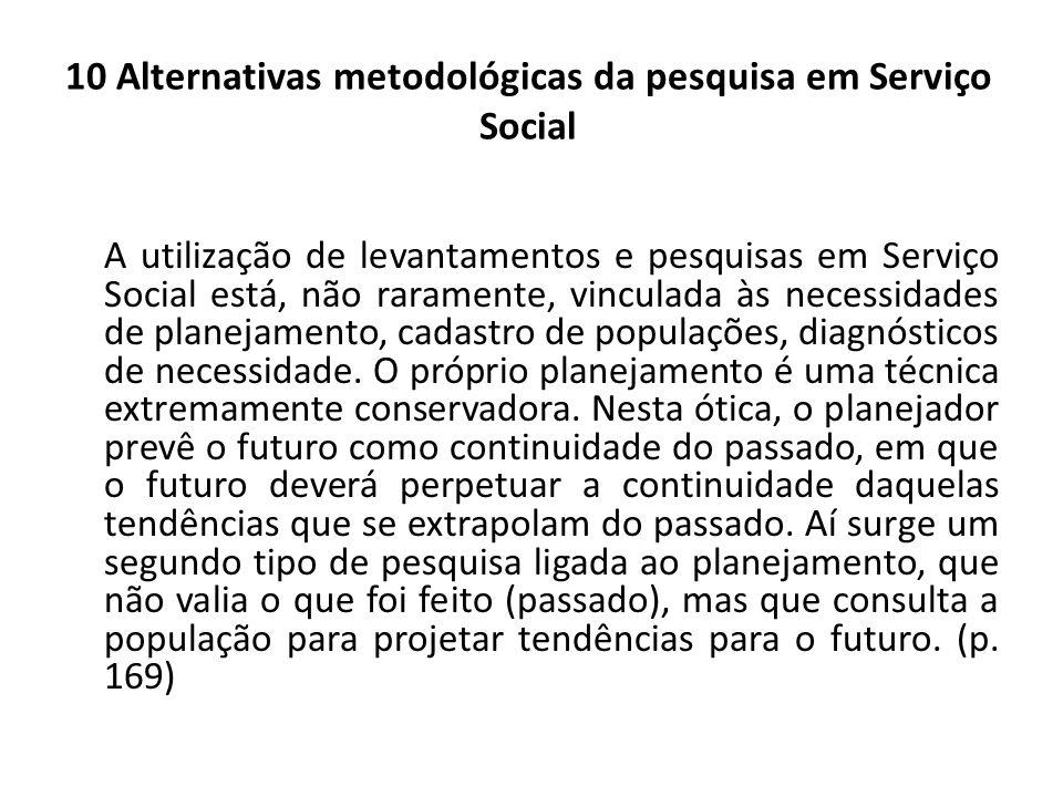 10 Alternativas metodológicas da pesquisa em Serviço Social A utilização de levantamentos e pesquisas em Serviço Social está, não raramente, vinculada
