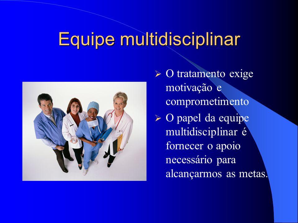 Equipe multidisciplinar O tratamento exige motivação e comprometimento O papel da equipe multidisciplinar é fornecer o apoio necessário para alcançarmos as metas.