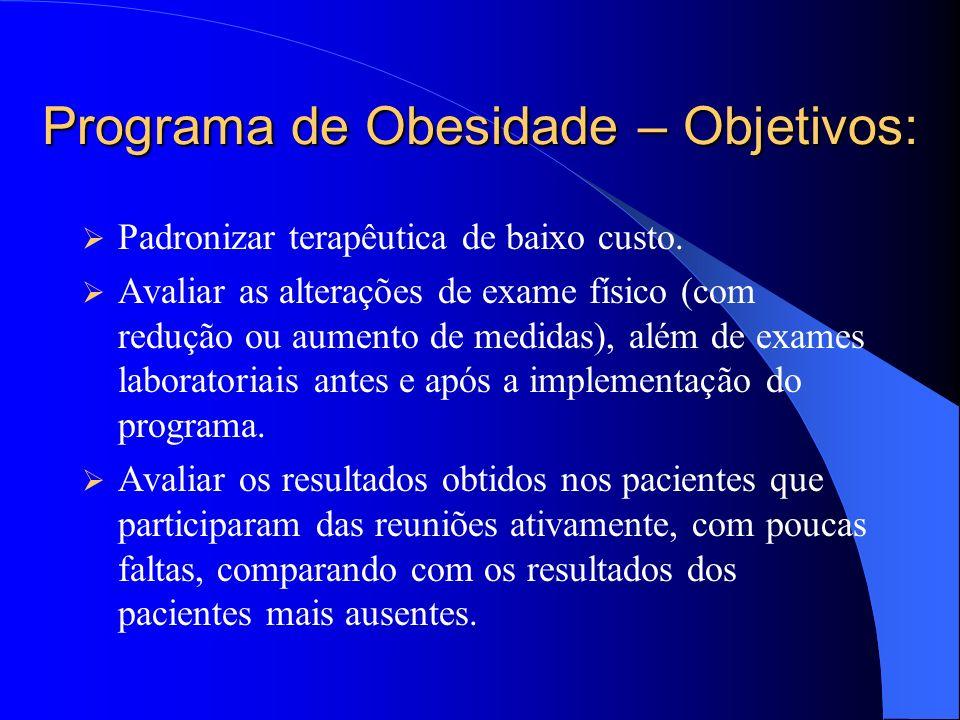 Programa de Obesidade – Objetivos: Padronizar terapêutica de baixo custo.