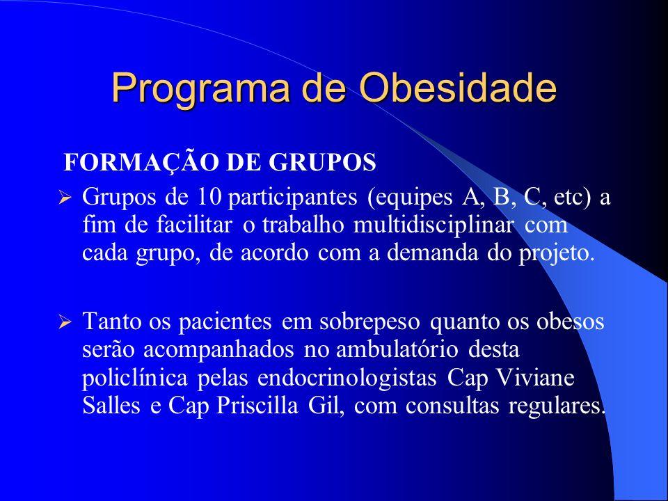 Programa de Obesidade FORMAÇÃO DE GRUPOS Grupos de 10 participantes (equipes A, B, C, etc) a fim de facilitar o trabalho multidisciplinar com cada grupo, de acordo com a demanda do projeto.