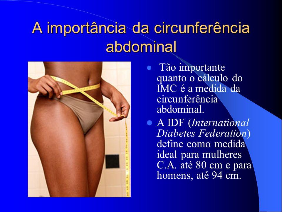 A importância da circunferência abdominal Tão importante quanto o cálculo do IMC é a medida da circunferência abdominal.