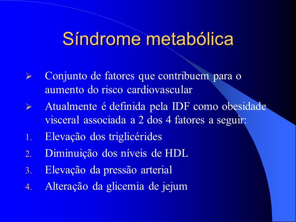 Síndrome metabólica Conjunto de fatores que contribuem para o aumento do risco cardiovascular Atualmente é definida pela IDF como obesidade visceral associada a 2 dos 4 fatores a seguir: 1.