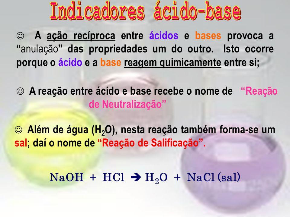 A ação recíproca entre ácidos e bases provoca a anulação das propriedades um do outro.