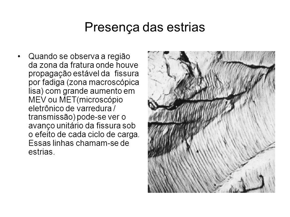 Presença das estrias Quando se observa a região da zona da fratura onde houve propagação estável da fissura por fadiga (zona macroscópica lisa) com gr