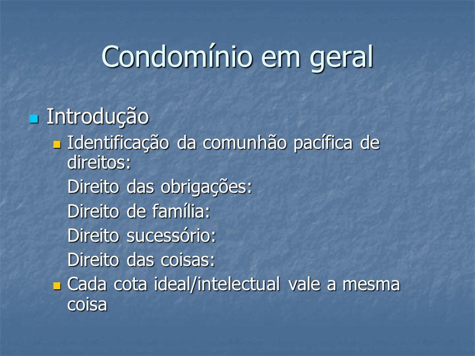 Condomínio em geral Introdução Introdução Identificação da comunhão pacífica de direitos: Identificação da comunhão pacífica de direitos: Direito das