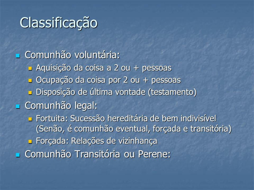 Classificação Classificação Comunhão voluntária: Comunhão voluntária: Aquisição da coisa a 2 ou + pessoas Aquisição da coisa a 2 ou + pessoas Ocupação